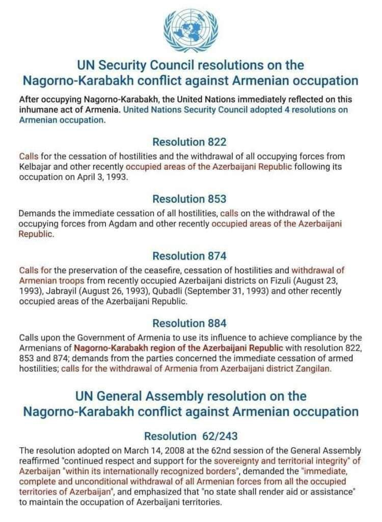 @KarabakhIC @BaggyShanker @CllrRuth @DerbyCC We would remind them 4 #UNSC resolutions, #UNGeneralAssembly resolution, they should know by heart before coming up with any act violating international law, and #Azerbaijan internationally recognized territorial integrity. I suggest them get informed on #GanjaCity #BardaCity https://t.co/n2bcUBn1qp