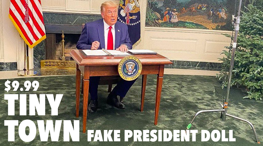 Get yours NOW while they last! ONLY $9.99 The TINY TOWN FAKE PRESIDENT DOLL Resolute Desk #TinyDesk SOLD SEPARATELY!