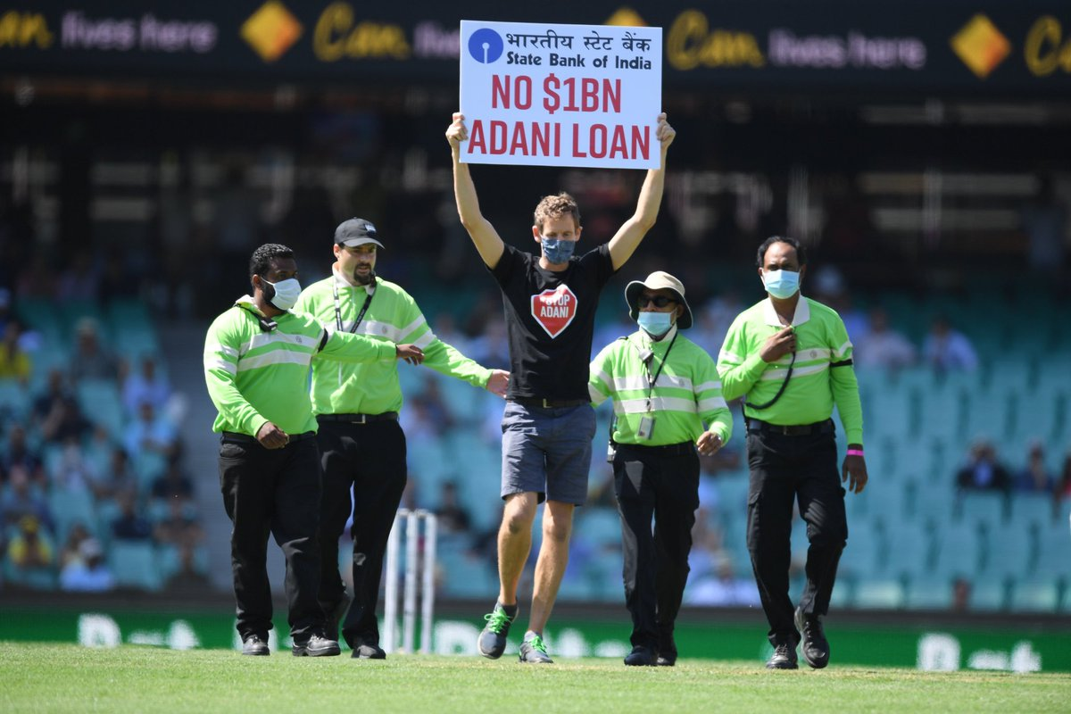 Meanwhile, in Sydney, where Australia is taking on India, we have people protesting against *TVM's favourite* Adani.