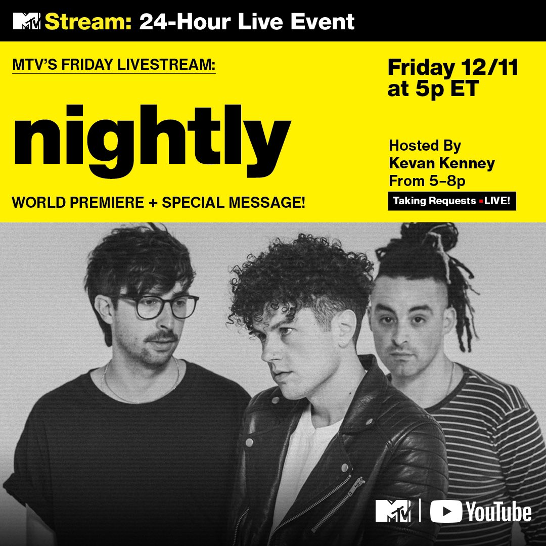 today @MTV and @KevanKenney will be premiering our video for time online as a part of their #FridayLivestream here: