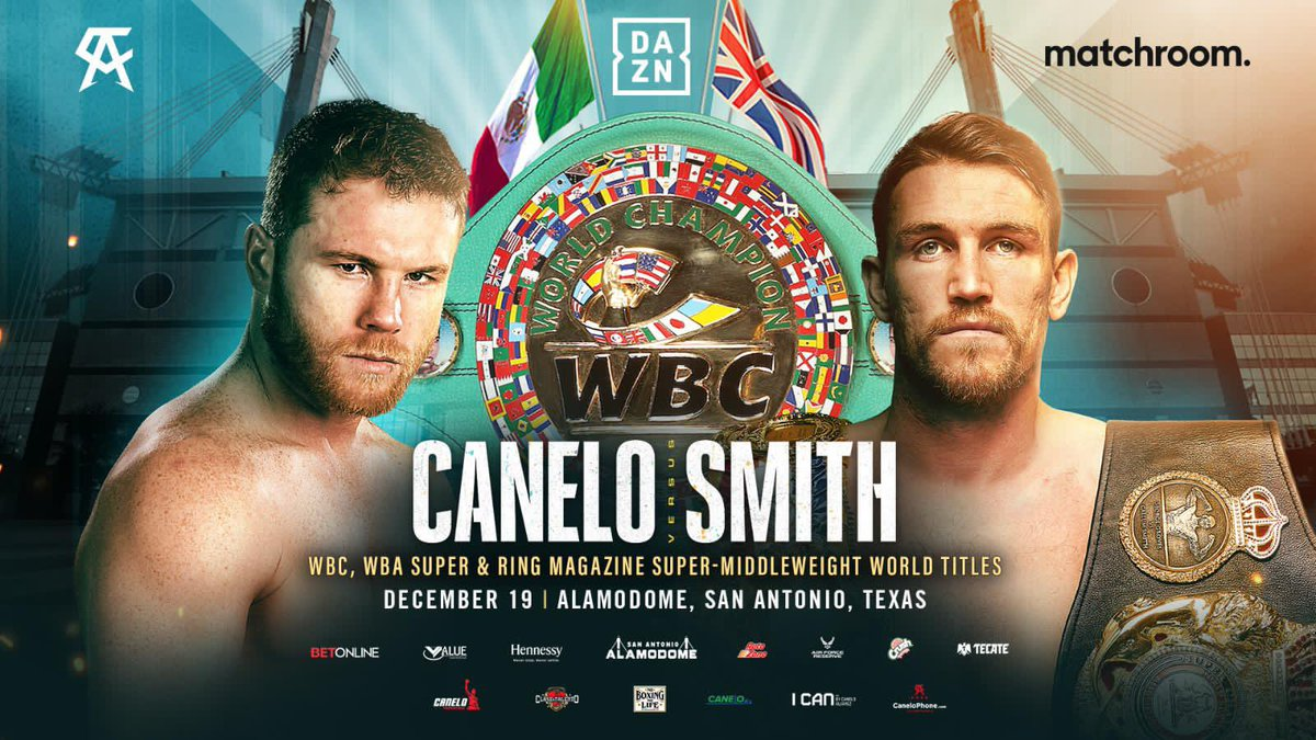 Dec 19 I FINALLY get my hands on the @WBCBoxing title and unify 168lb division!  Watch exclusively on @DAZNBoxing  #CaneloSmith