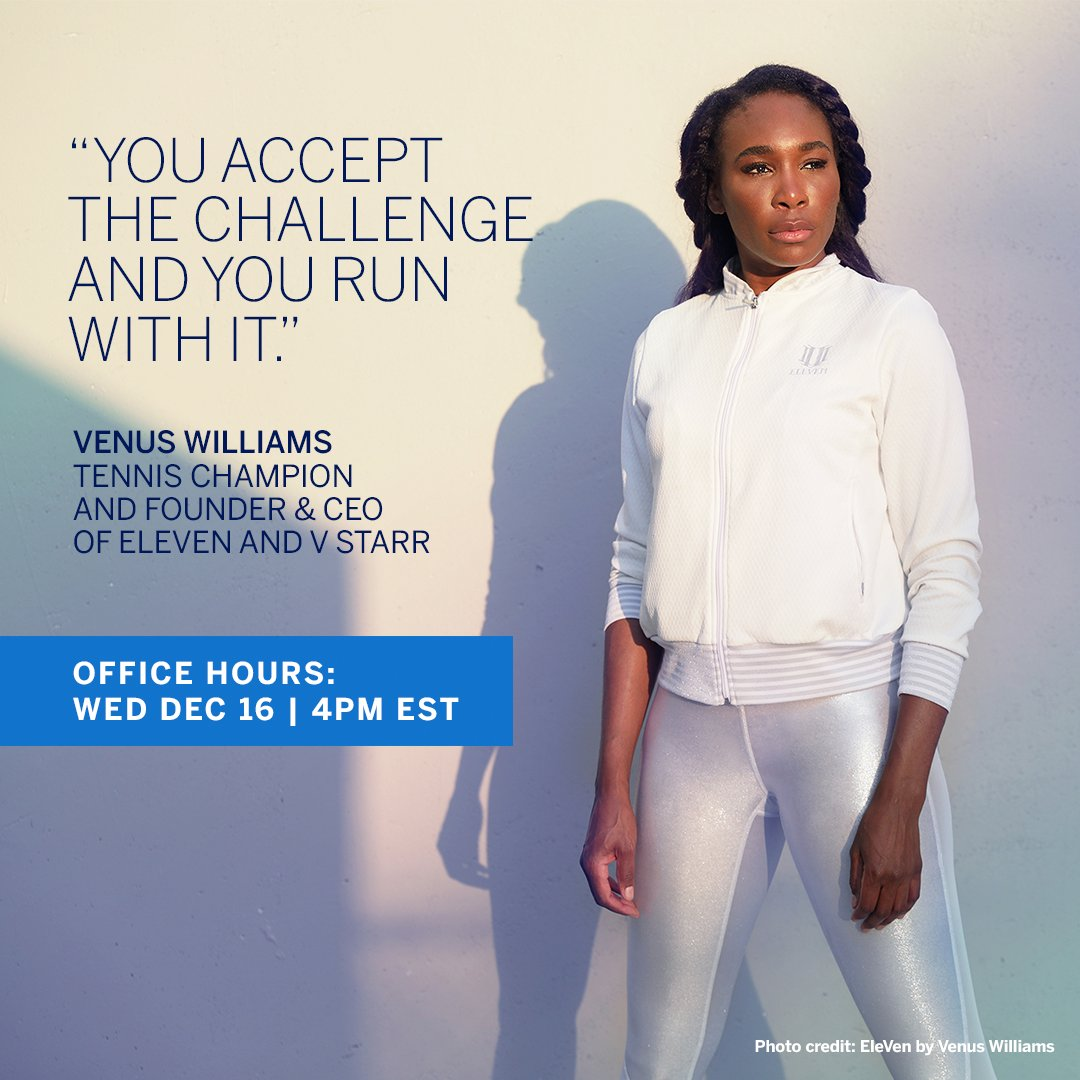 How is @venuseswilliams outmatching today's business challenges? The Tennis Champion & Founder & CEO of @elevenbyvenus, V Starr & Happy Viking talks live w/ Colleen Taylor, President, U.S. Merchant Services at Amex – Wed, Dec 16th, 4PM EST on  #AmexBusiness