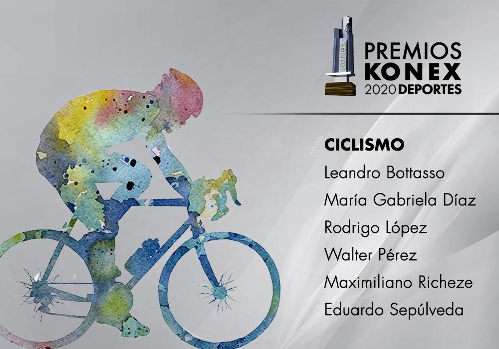 Los ciclistas ganadores del #PremioKonex de este año son:  🔹@leandrobottasso 🔹María Gabriela Díaz 🔹Rodrigo López 🔹@perezwalterok 🔹@MaxRicheze 🔹@EduSepulvedaARG  Acá el listado completo de premiados👇