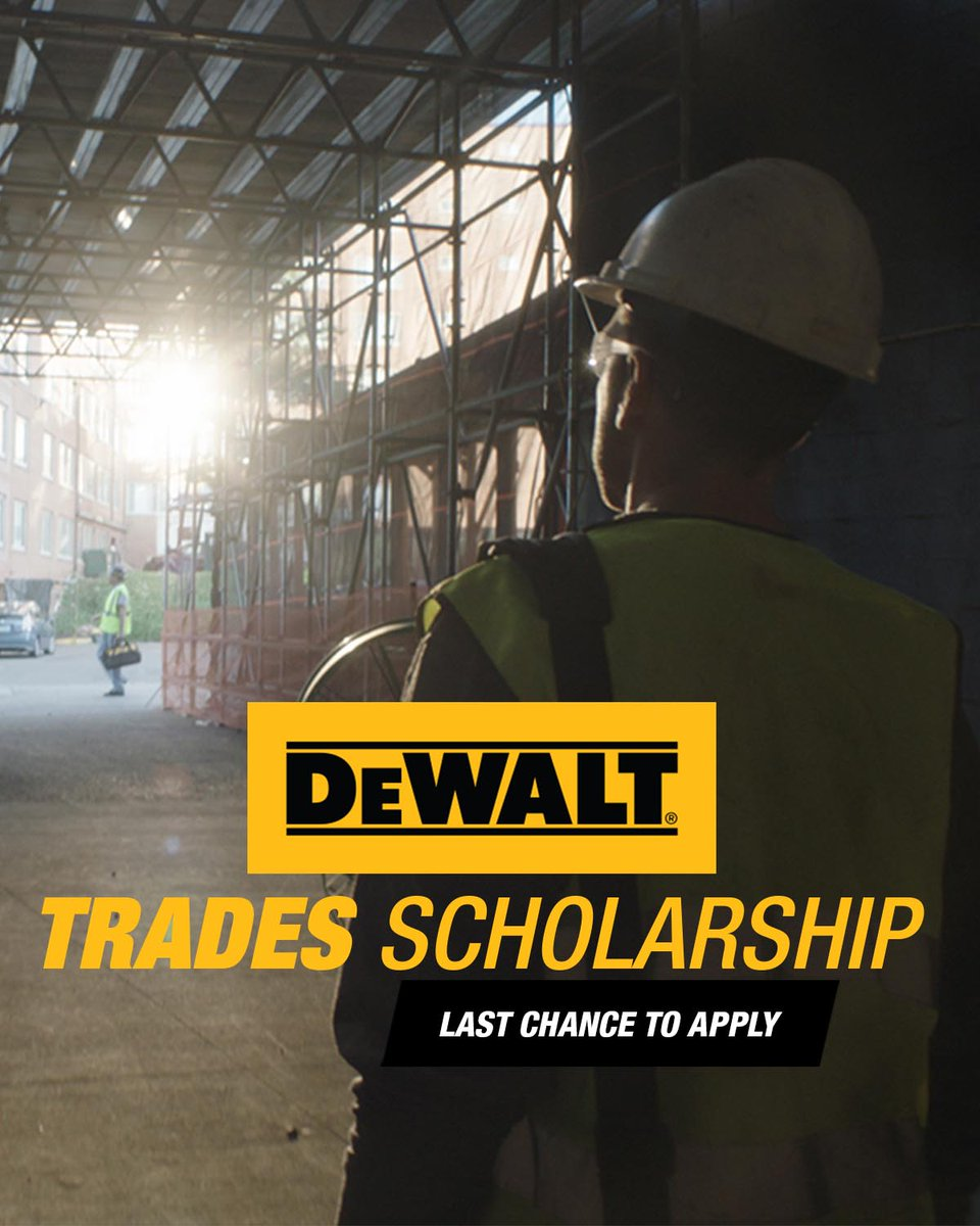 It's your last chance to apply for the DEWALT Trades Scholarship. If you're pursuing a career in the trades, we can help you earn your degree at a two-year college or vocational school. Submit your application by 12/14 and start building your future.