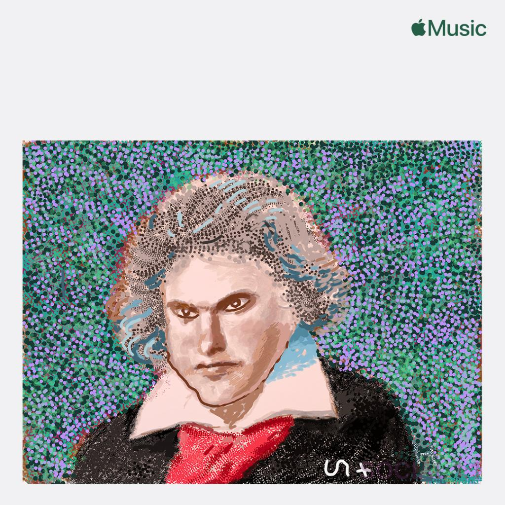 .@maxrichtermusic guest curates #TheBeethovenEffect playlist, with exclusive artwork created by David Hockney to celebrate Beethoven's 250th birthday. 🎂  Listen only on Apple Music: