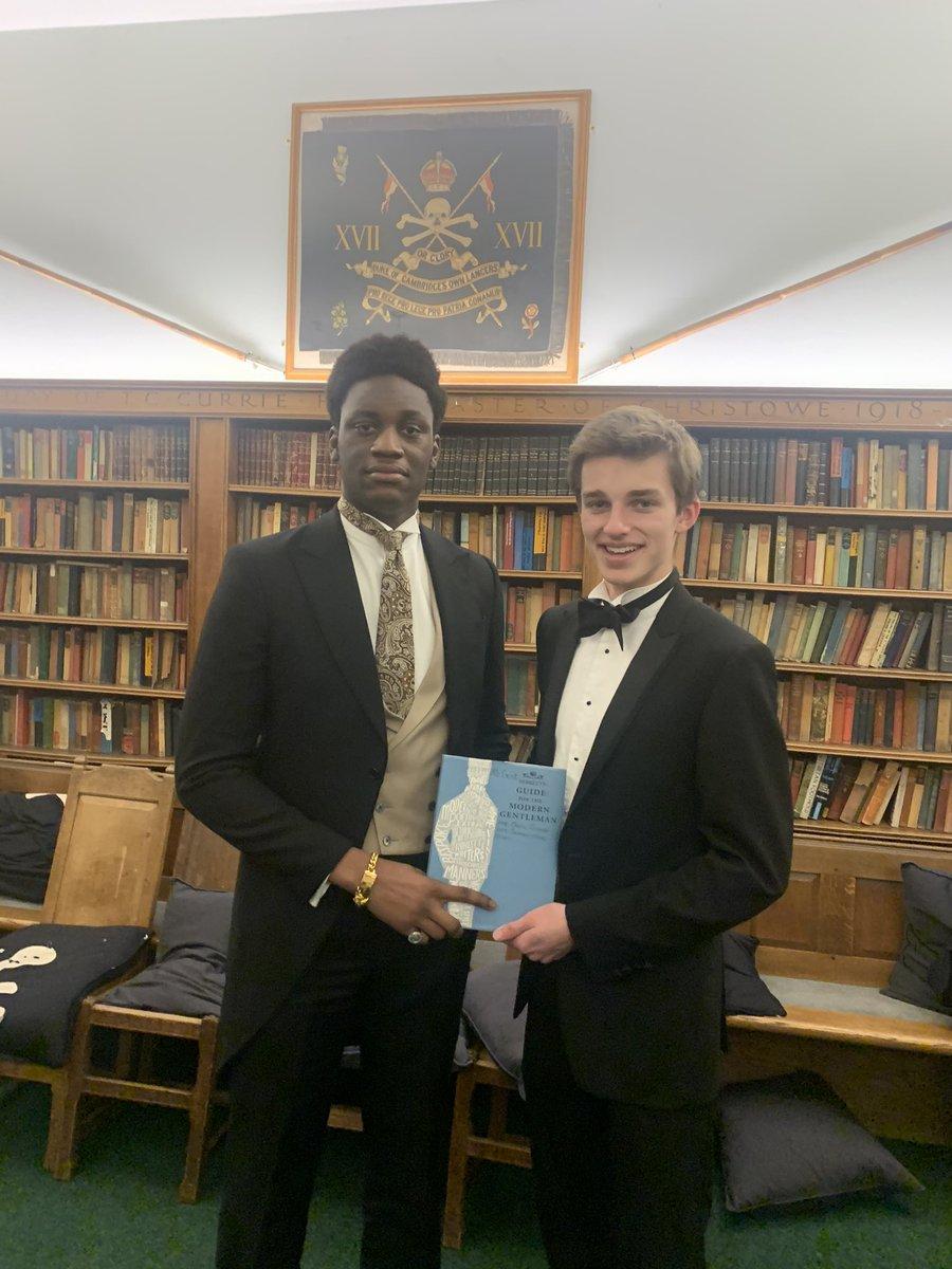 The Gentleman Award is passed on from Sam to Rory #nildesperandum #bestdressed #manners