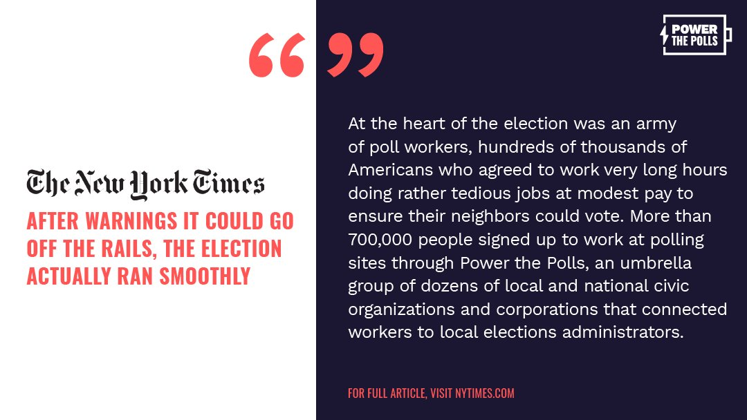 Our elections ran smoothly, and we have poll workers to thank! So, from the bottom of our hearts, thank you to the election heroes who stepped up to #PowerThePolls and protect our voices!