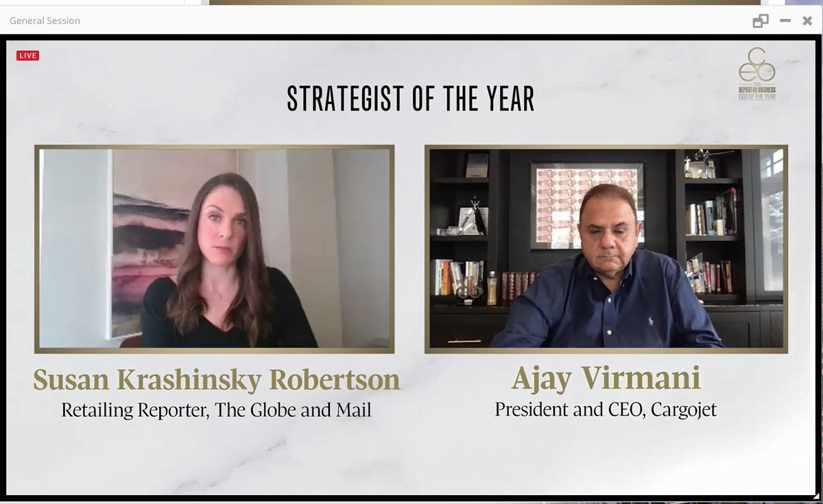 """""""Cargojet has always had a culture of safety and employee health, with a focus on Respect, Fairness, Diversity and Teamwork"""" ROB Strategist CEO of the year @globeandmail , @ajayvirmani1 or @CargoJetAirways"""