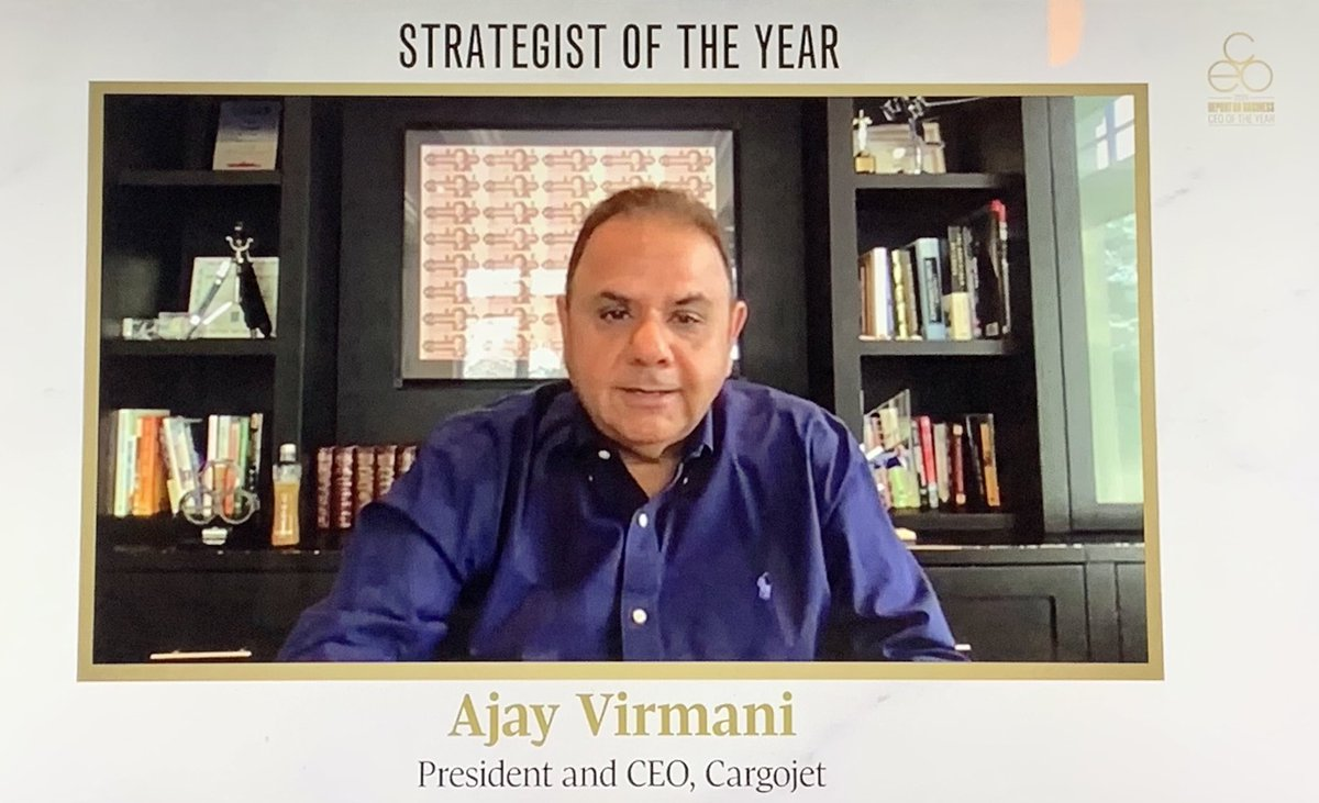 Congratulations to Ajay Virmani, President & CEO of @CargoJetAirways, on being selected as Strategist of the Year and recognized this afternoon at the Report on Business 2020 CEO of the Year webcast, presented by The @globeandmail 👏🏻✈️📦
