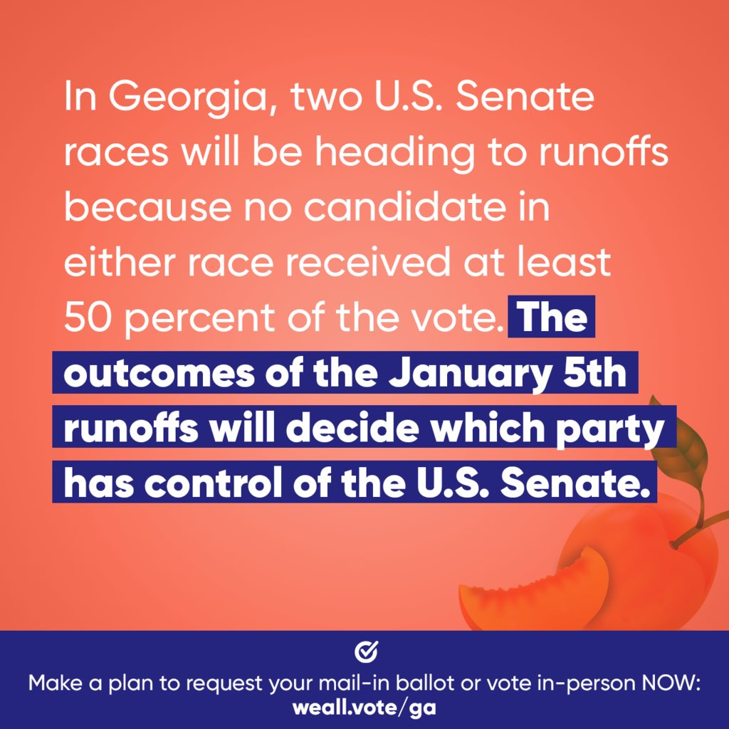 In the January runoff elections, #Georgia voters will decide which party has control of the U.S. Senate. @WhenWeAllVote is breaking it down to make sure the 🍑 state is #RegisteredAndReady to vote.