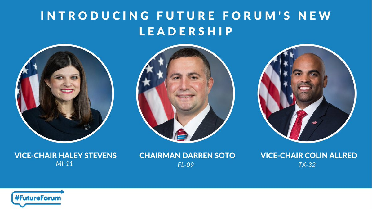 Future Forum welcomes our new leadership team for the 117th Congress! ➡️@RepDarrenSoto ➡️@RepHaleyStevens ➡️@RepColinAllred Read more here: