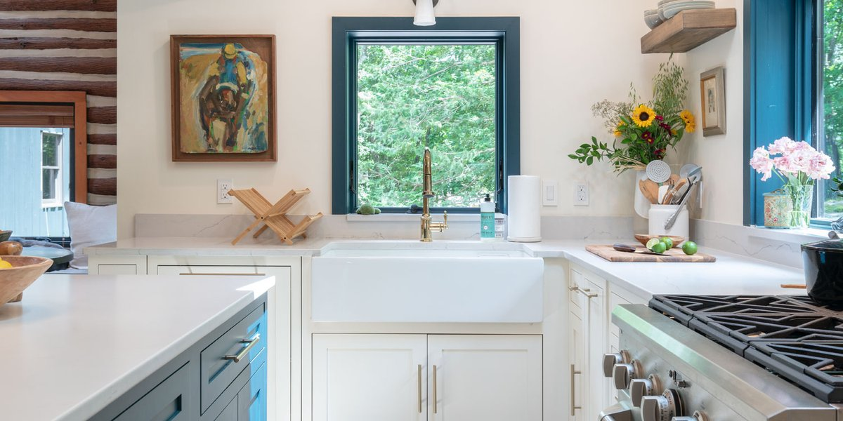 This charming home renovation adopts modern elements while paying homage to its roaring twenties roots. Shining new faucets, hardware, and vanities blend well with the property's rustic flair. Check it out: https://t.co/jUBse9H2Kr #homedesign #design #inspiration #kitchen #bath https://t.co/D88nPugrkg