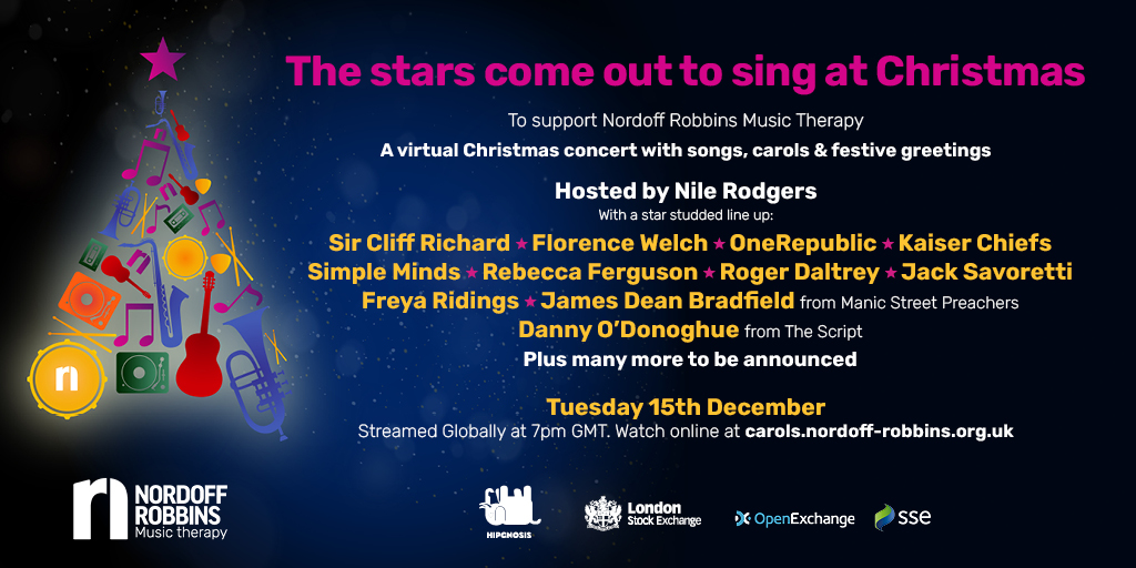 Come join us tomorrow at 7pm (BST) for the Nordoff Robbins @NordoffRobbins1 Music Therapy Christmas event! #SingForNordoffRobbins