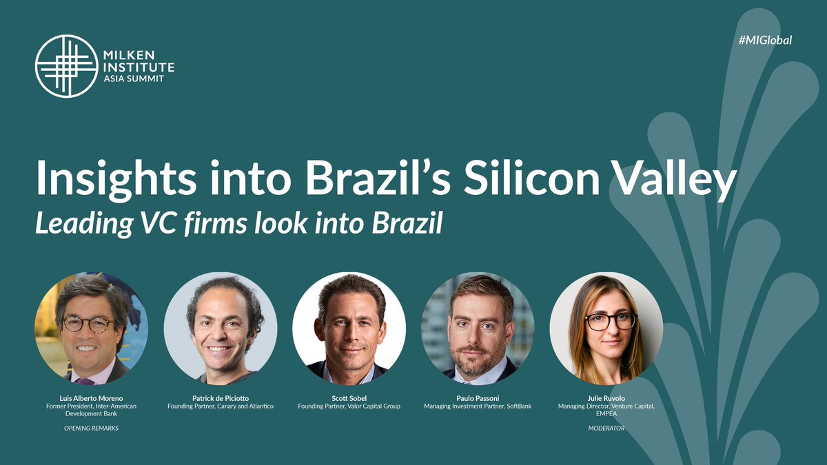 I invite you to a great conversation into Brazil's Silicon Valley tomorrow from Singapore ⁦@MilkenInstitute⁩ #milkenconf ... https://t.co/SrI0AAEzJz