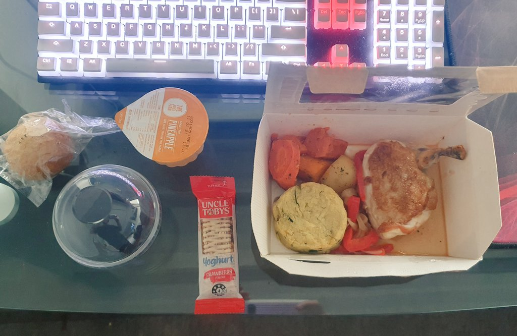 Chris Orfanellis - DAY 2 - So far so good, got tested today and should get results tomorrow. The food is good, but small... kinda like an airplane. Today is roast chicken, brownie square,  muesli bar, roll and orange juice.