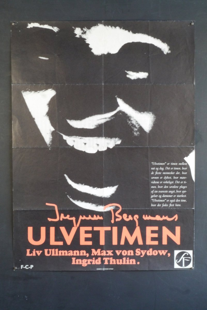 Hour of the Wolf-Rare Original Vintage Poster of Ingmar Bergman's Bold Surreal Fever Dream with Max von Sydow, Liv Ullmann and Ingrid Thulin  #hourofthewolf #ingridthulin #maxvonsydow #ingmarbergman #livullmann #surrealism #originalmovieposter