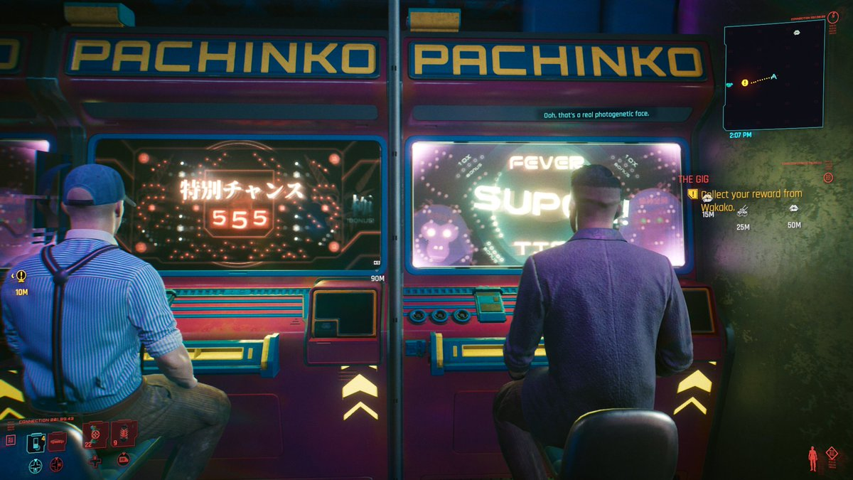 Everyone in Night City is so mean except for these dudes playing pachinko