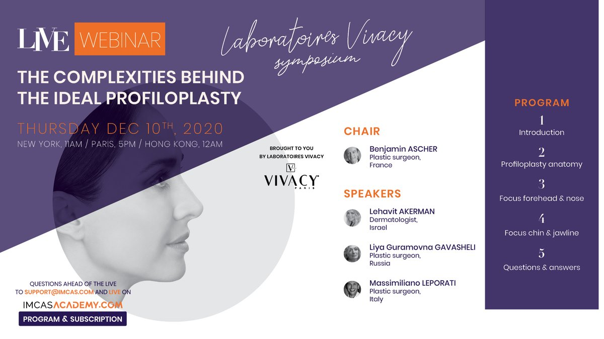 "- LIVE WEBINAR TODAY - December 10 at 5PM (Paris time)  Join us today at 5PM on IMCAS Academy for the webinar sponsored by @Lab_Vivacy on ""the complexities behind the ideal profiloplasty"" 👉 https://t.co/GKyi5QkvQA https://t.co/MADhsyXSzd"