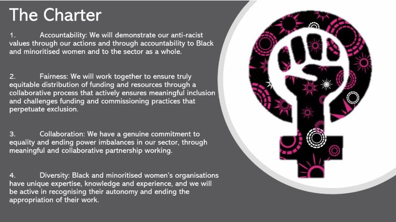 On this #HumanRightsDay I'm proud to see colleagues in the VAWG sector launching their Call to Action & Charter to end racist practices. Organisations supporting Black & minoritised women must get the funding, support, and recognition they deserve. #endracisminvawg