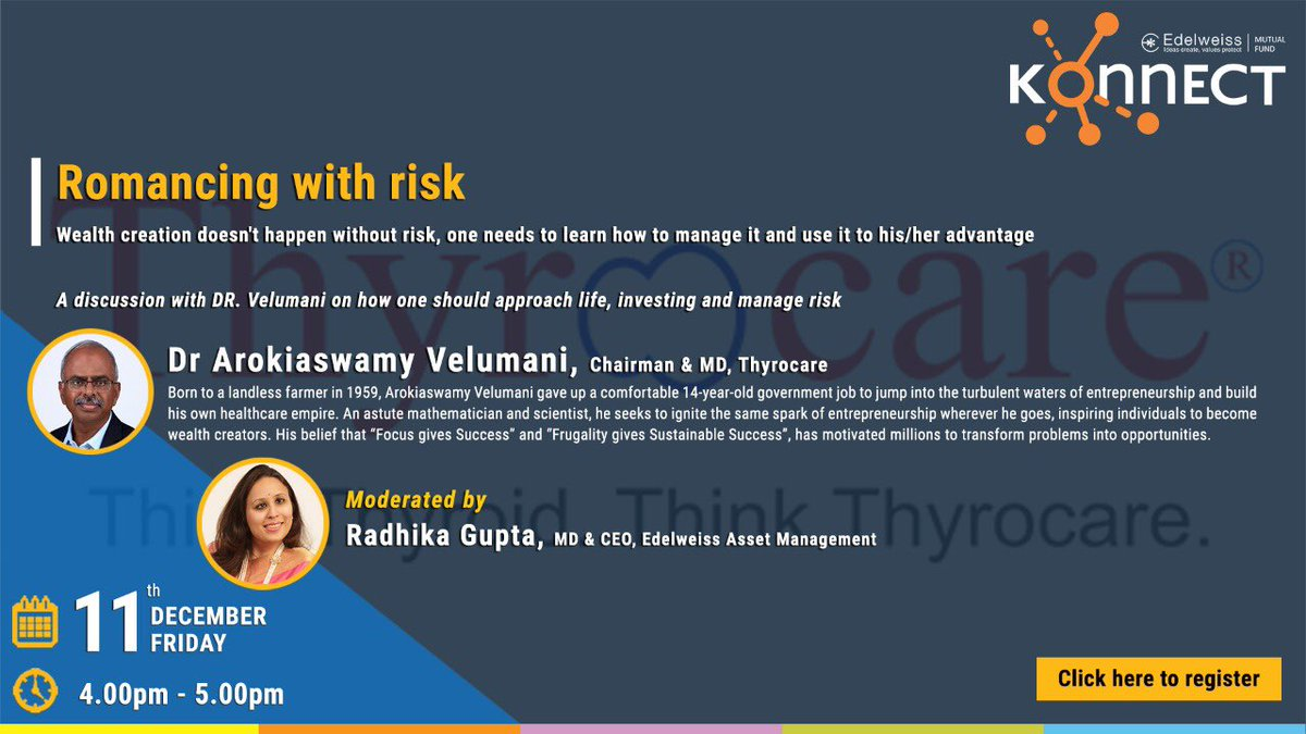 Radhika Gupta On Twitter This Friday A Talk About Life Investing And Winning Over Risk Join Us In Conversation With Velumania Tomorrow At Edelweissmf Konnect Register Https T Co Nbbihwr3gd Https T Co Y0leohcfgu