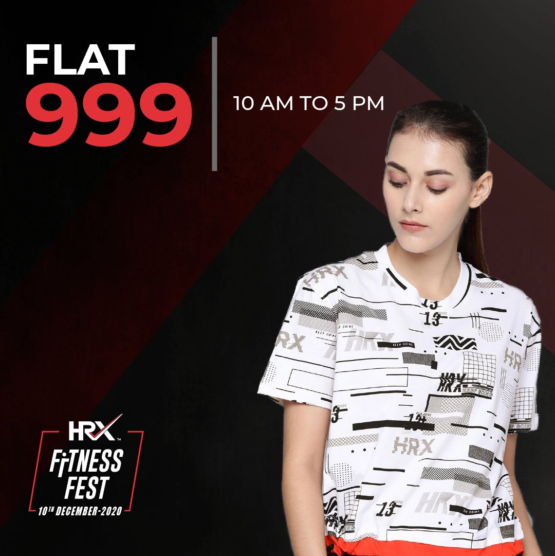 The workout boon, now at noon, disappearing soon! ⏰  Join the #HRXFitnessFest on Myntra and get FLAT RS. 999 off on gear only till 5 PM today. Don't waste any more time, and #TurnItUpWithHRX: