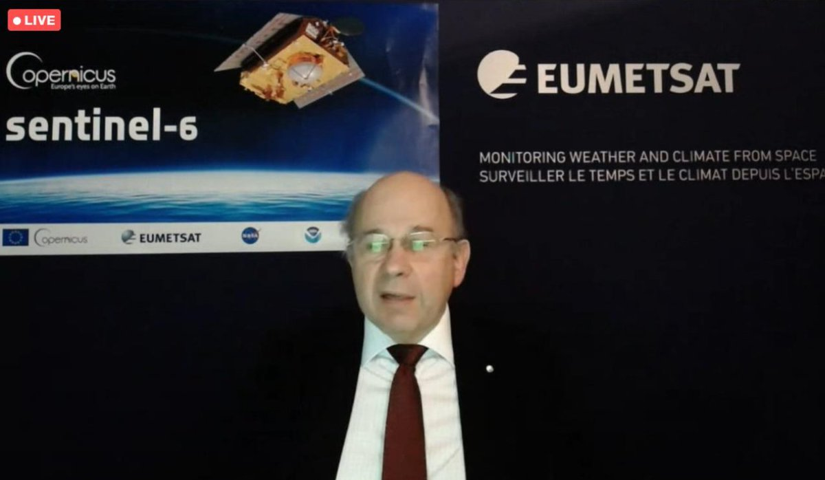 Alan Ratier from @eumetsat says that #Sentinel6 is healthy and the data are very consistent with the other missions (S3 and Jason-3).  When can we expect more data?  ☀️June: First set of data for ocean altimetry   🍂November: Climate data for climate change science  #EUSpaceWeek