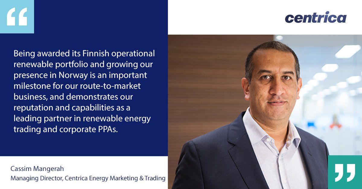 Cassim Mangerah, our Managing Director of Centrica Energy Marketing & Trading, explains why we're excited to deepen our relationship with @Taaleriteam Energia and help them to realise their green ambitions. Read more → https://t.co/z5kDmJUPKp https://t.co/KKp7iQq7tc