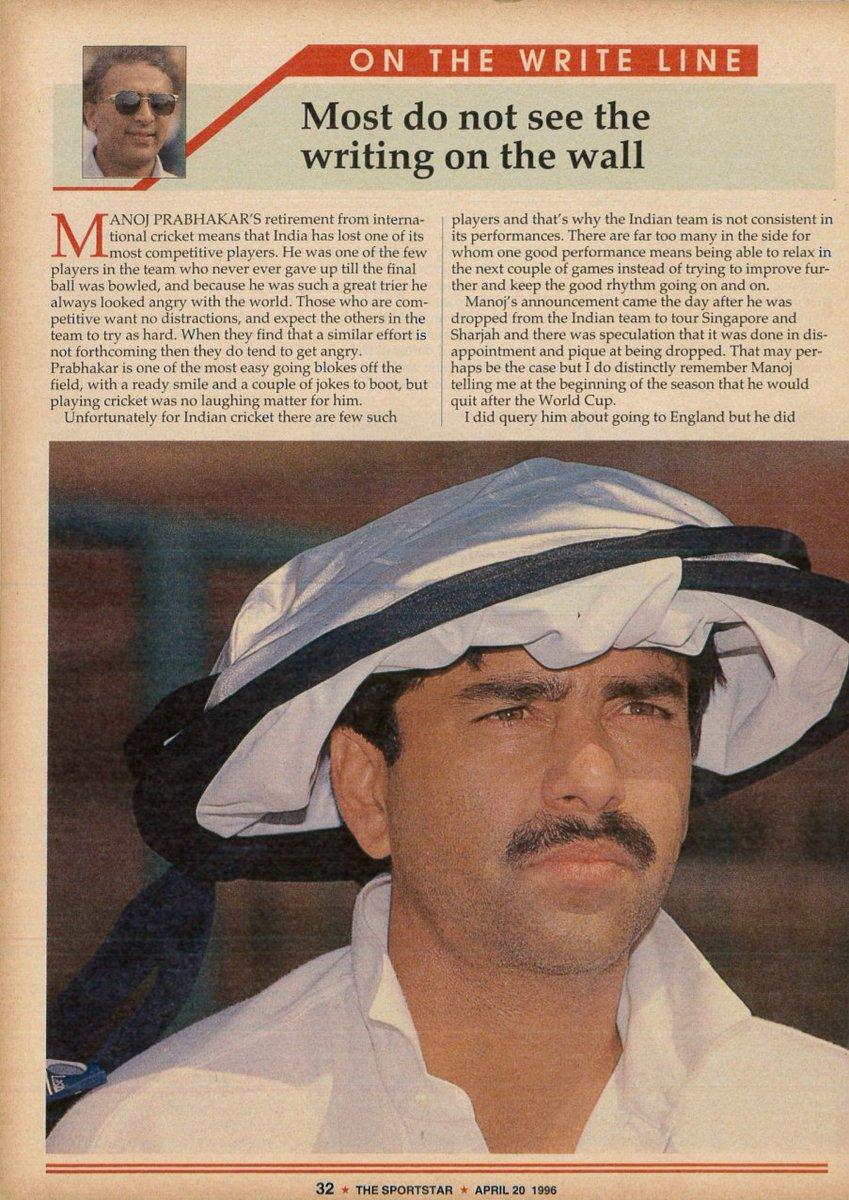 Most do not see the writing on the wall | Sunil Gavaskar. The Sportstar | April 20, 1996