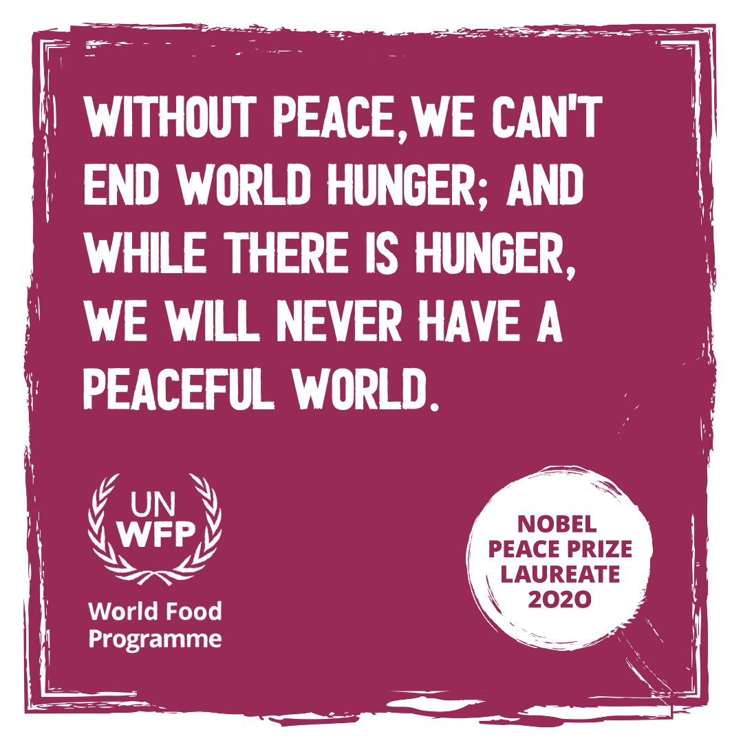 Congratulations to the UN World Food Programme on being awarded the 2020 #NobelPeacePrize. This is a powerful reminder that peace and Zero Hunger go hand-in-hand. Join me and @WFP in our mission to end hunger. Follow WFP to find out how you can help make a difference!