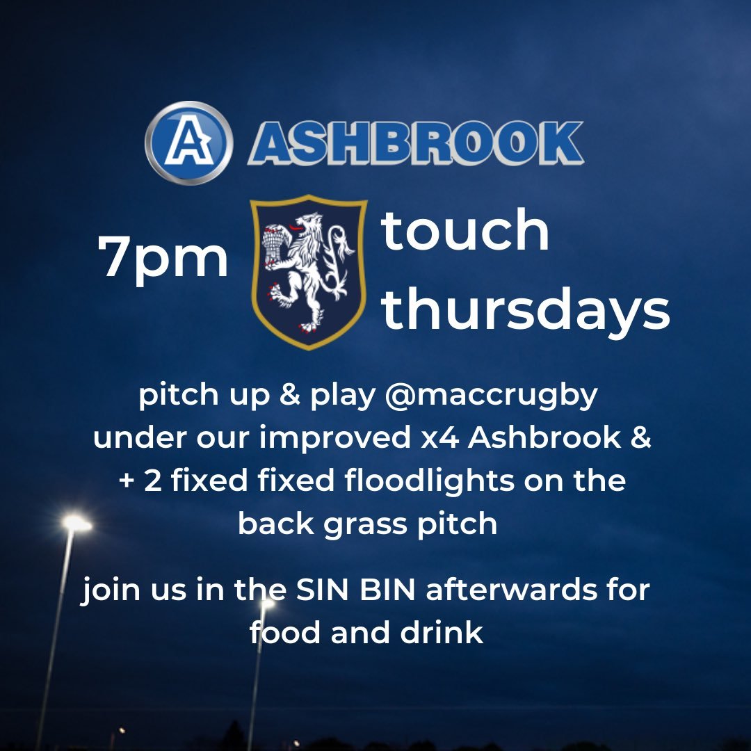 test Twitter Media - The Macc Touch Rugby Hub is ready for tonight's move to grass. Thanks again to our amazing partners @ashbrook_ltd, what a set up!   Pitch up & play touch rugby 7pm start.   Sin Bin open for food & drink after 🥧🍺 https://t.co/XGF93AjmNo