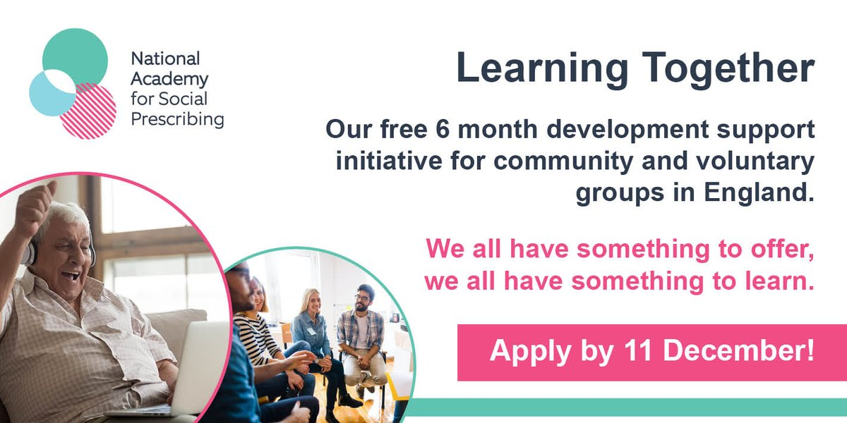 Learning Together is a free regional support initiative for voluntary, community, faith & social enterprise groups and organisations supporting communities through COVID-19. Free to join but places are limited through a selection process, apply by 11 Dec: https://t.co/jXldPBR8Bl