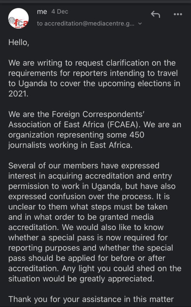 .@OfwonoOpondo for a week our colleagues at @FCAEA have been asking you what the process is for international journalists to come to #Uganda to report on the election.  Why are you refusing to answer?  Is there a ban on journalists coming to do our work?