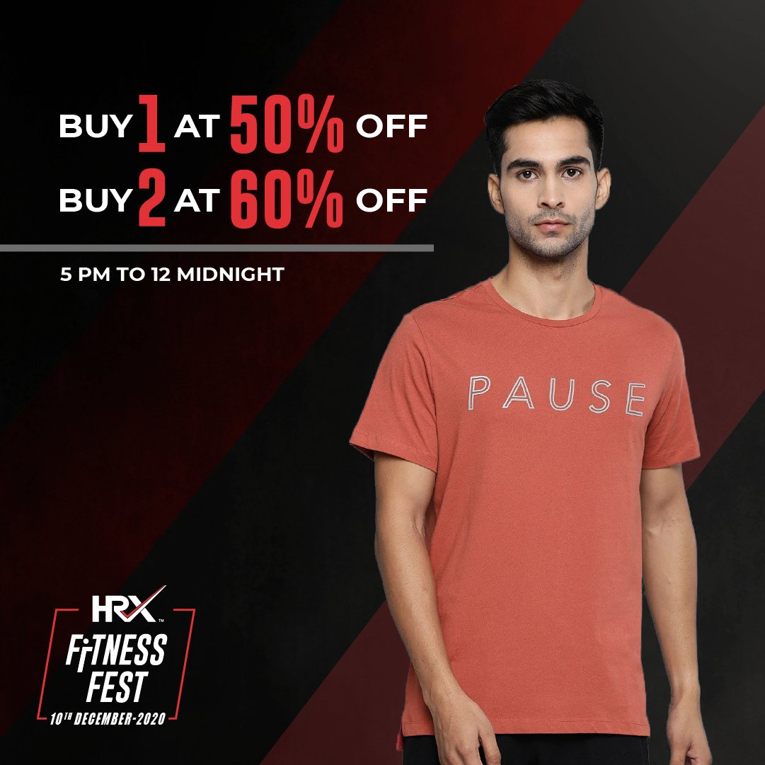 Been shopping and want more? You're at the right place. Buy 1 Get 50% off, Buy 2 Get 60% off at the #HRXFitnessFest🤸until midnight on @myntra  . Let's #TurnItUpWithHRX:
