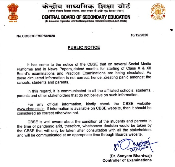 A public notice issued by CBSE about several fake documents that are being circulated on social media platforms regarding the schedule of class X and XII board examinations.