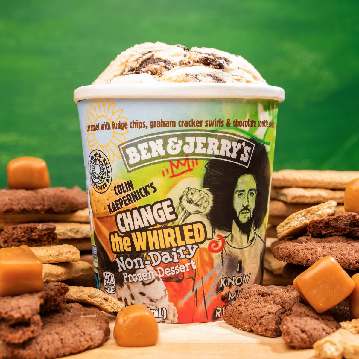 We've teamed up with @BenAndJerrys to serve up joy on the journey to justice!  Today, we're excited to introduce Change the Whirled, a new non-dairy flavor that hits shelves in early-2021!  100% of @Kaepernick7's proceeds will go to KYRC with matching support from Ben & Jerry's.