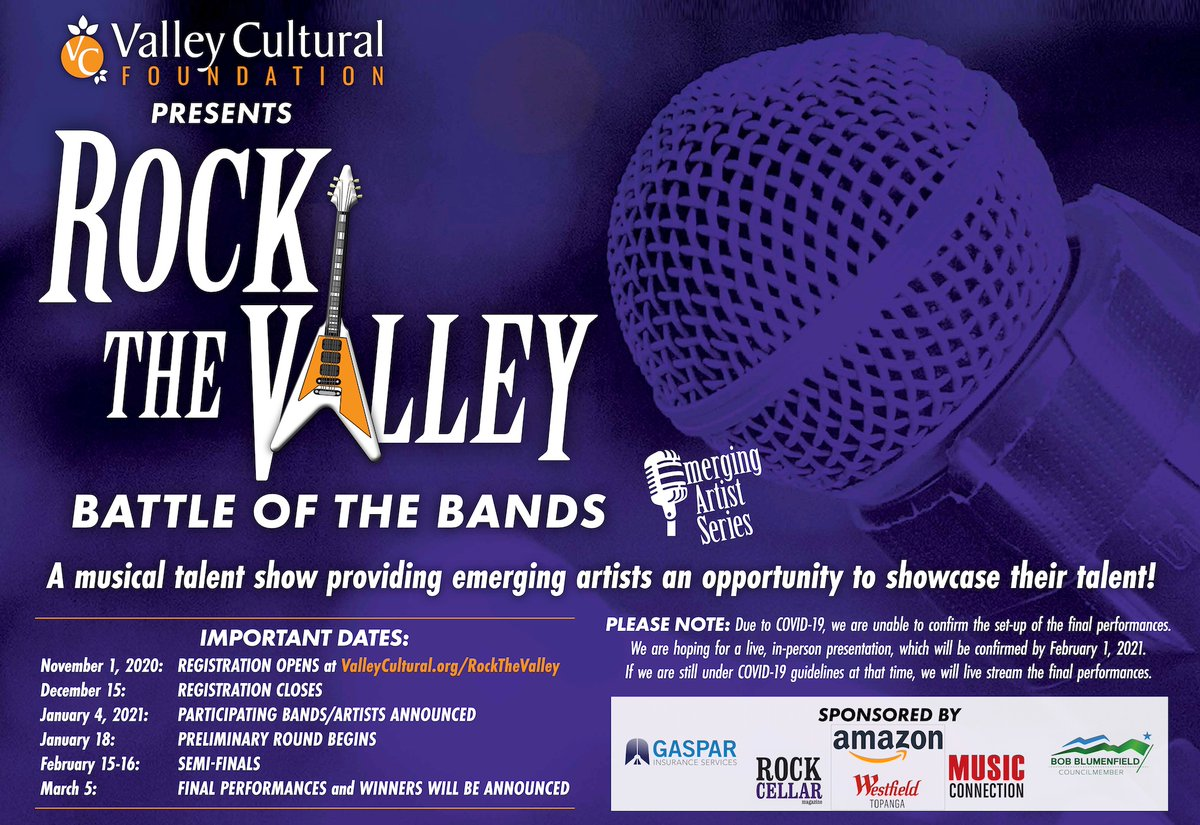 Don't forget to sign up for #RockTheValley! Go to  for details.  #music #concert #LosAngeles #OnlineConcert #BattleOfTheBands #local #artists #support #nonprofit #LosAngelesEvent #ThingsToDo #LiveBand #NewMusic #LocalBand #VirtualConcert #OnlineEvent #Stage