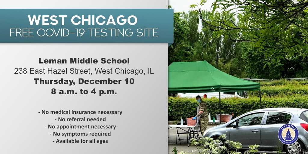 Senator Laura Ellman على تويتر There Will Be A Free Covid 19 Testing Site Open This Today December 10 From 8 A M To 4 P M In West Chicago See Further Information Below Https T Co 5cag6czchh