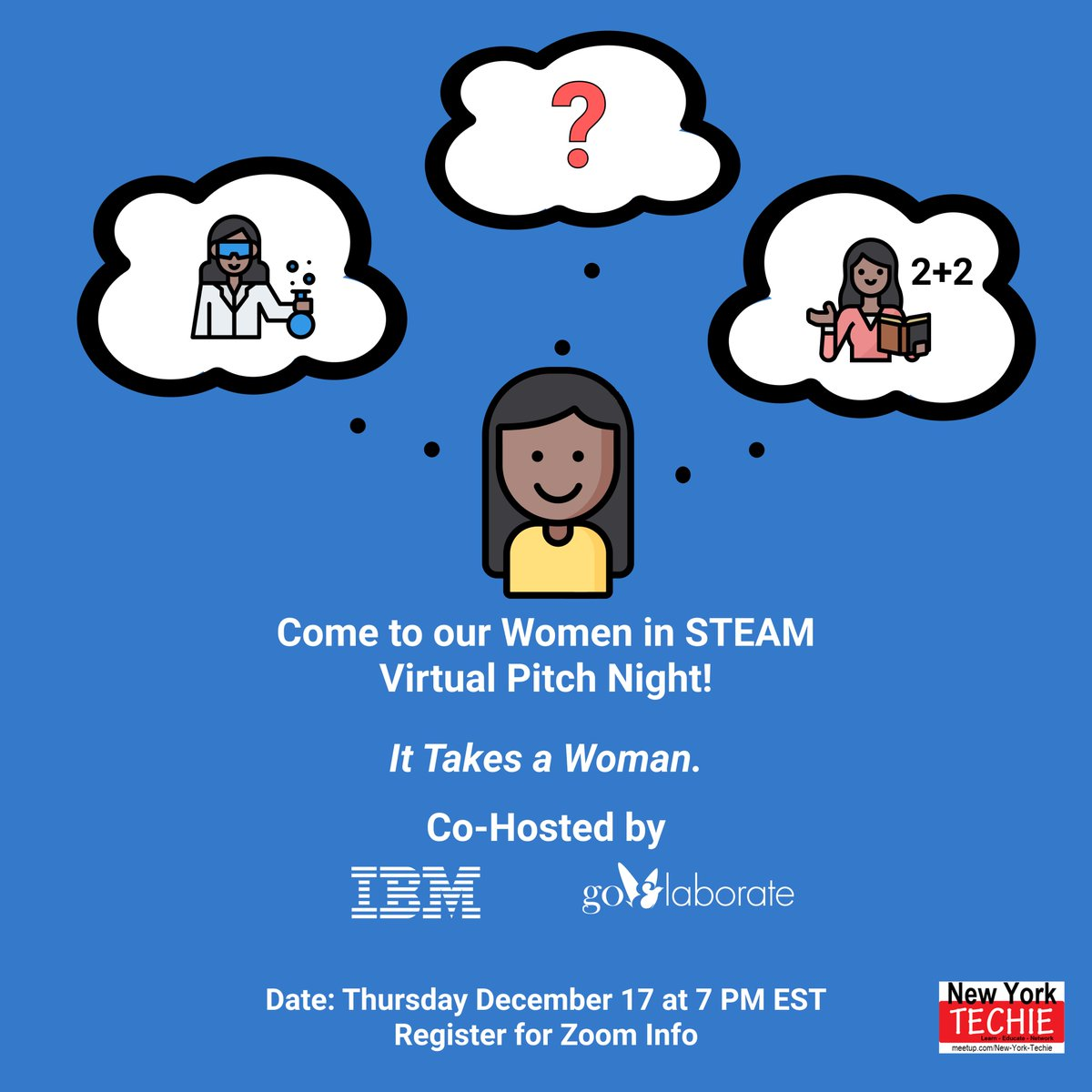 1 Week Left Until the Women in STEAM Virtual Pitch Night! Join us at 7 PM EST on Thursday, December 17. Register using the link below.    #Startup #Ideas #PitchNight #StartupLife #startups  #goElaborate