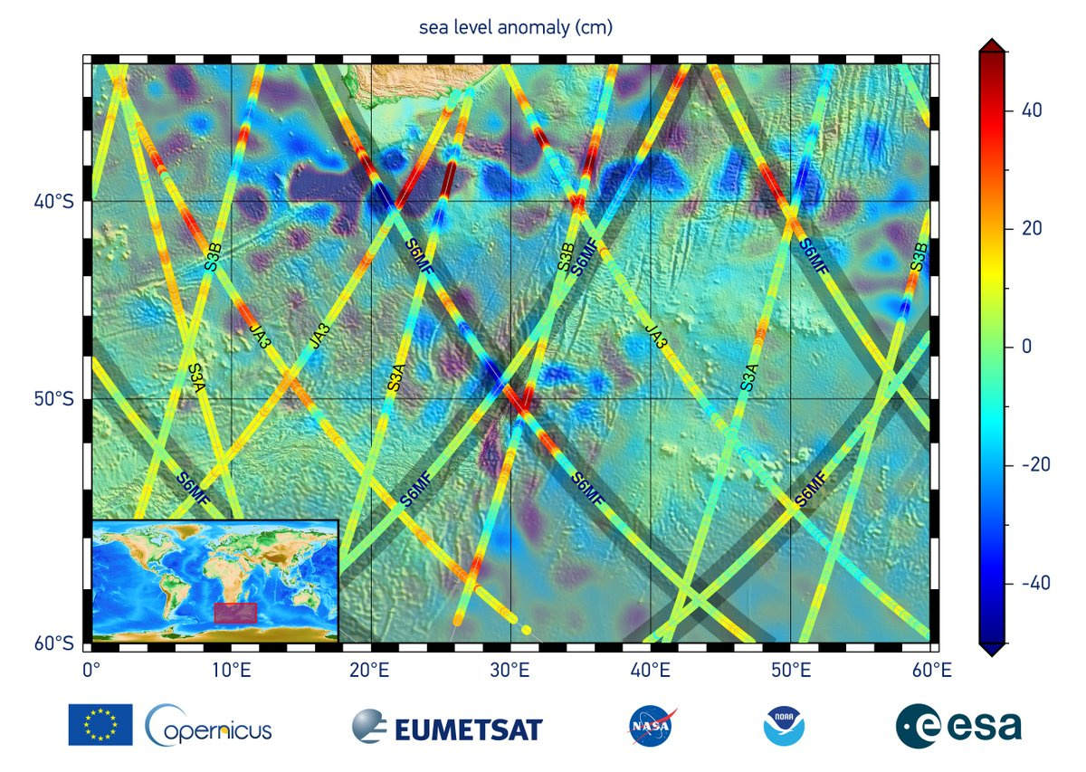 The Sentinel-6 Michael Freilich satellite is officially #SeeingTheSeas! It sent its first measurements to scientists here on Earth. The first image shows sea surface height data off the southern tip of Africa while the other is radar data as waveforms.
