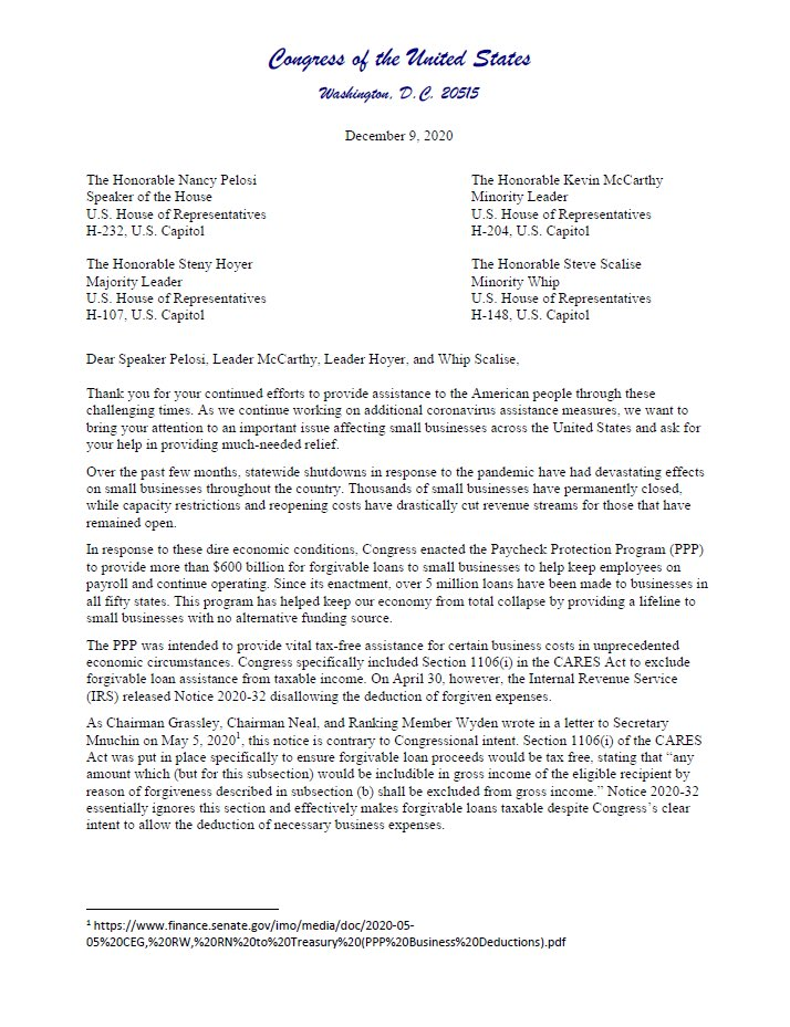 Yesterday,@RepFletcher, @RepDrewFerguson and I sent a letter with over 170 of our House colleagues to Leadership asking that they make forgiven PPP funds completely tax free. The PPP has been an essential lifeline for small businesses struggling to keep their doors open. https://t.co/Z6pSZmG3wO