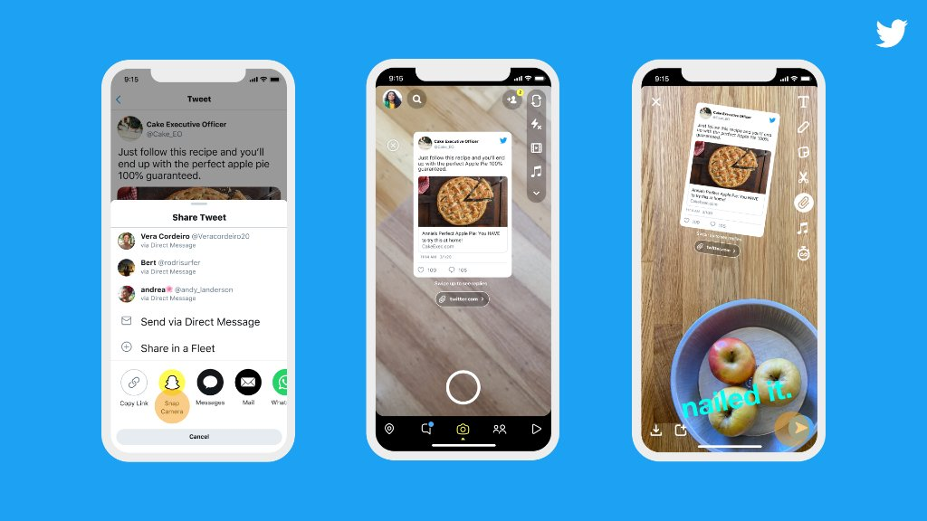 Oh snap! 👻  Sharing Tweets directly to your Snapchat Stories is now easier than ever. Rolling out today on iOS!