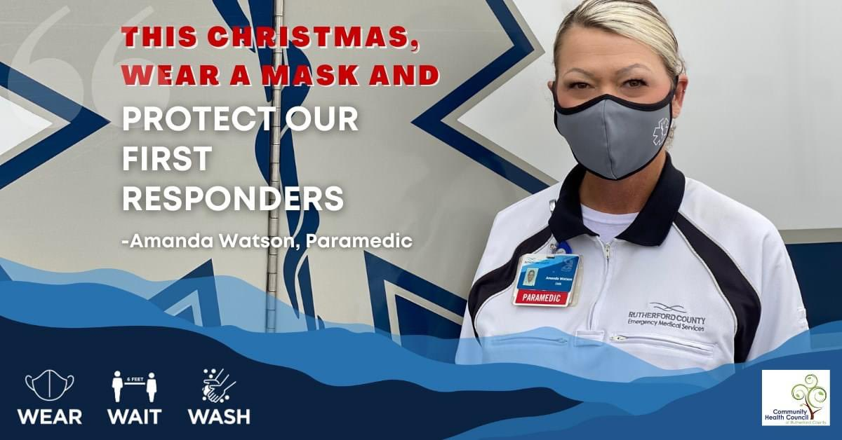 This Holiday Season by like Amanda and wear the 😷! Support our front line staff from Rutherfordton Fire & Rescue Rutherfordton Police Department Rutherford County EMS and all those working to protect our health! #1Town1Team #WearTheMask
