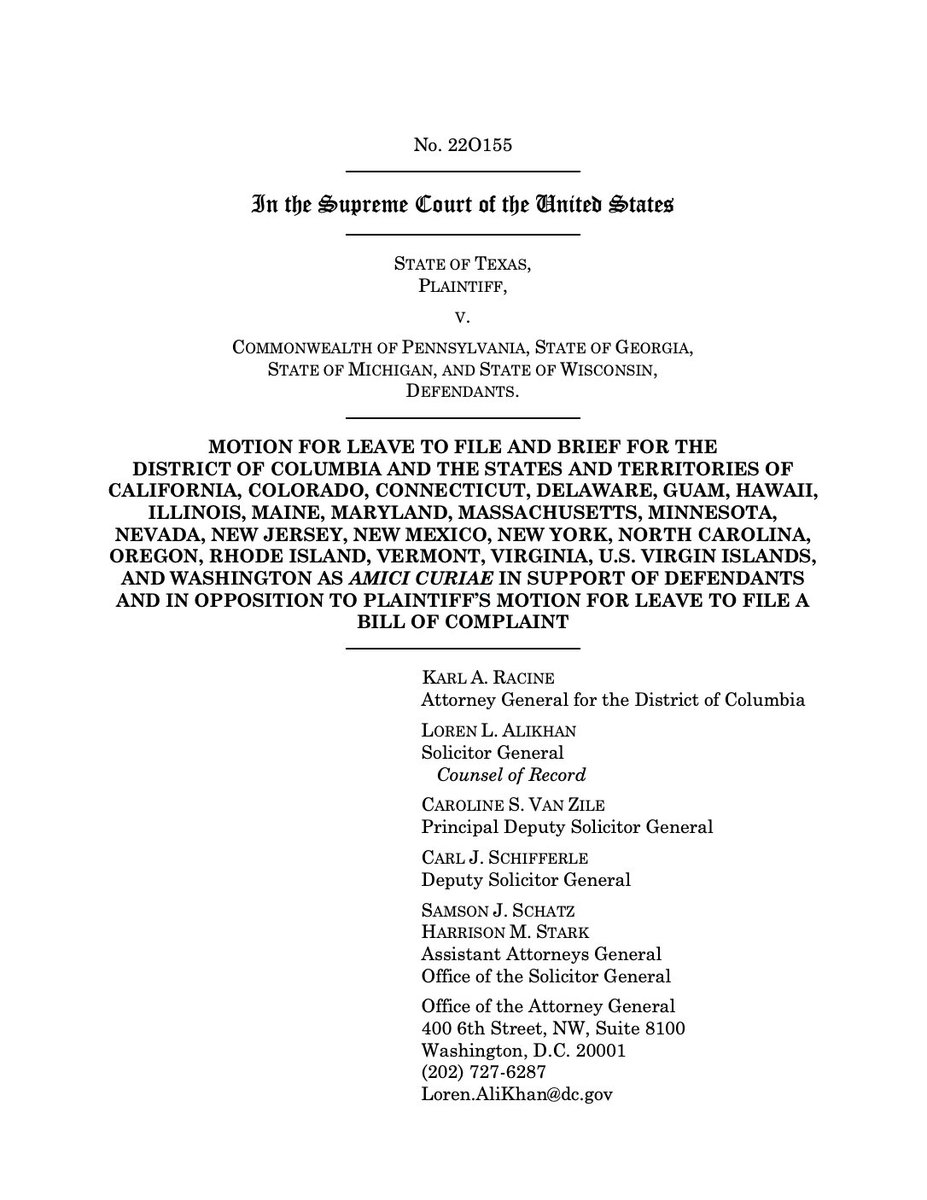 The people have chosen.  These baseless lawsuits and this misinformation campaign must end.  States took steps to ensure their elections could operate fairly, efficiently and safely in the midst of #COVID19 and I'm proud to stand up for those efforts, and our democracy, in court. https://t.co/bMbVUISOv0