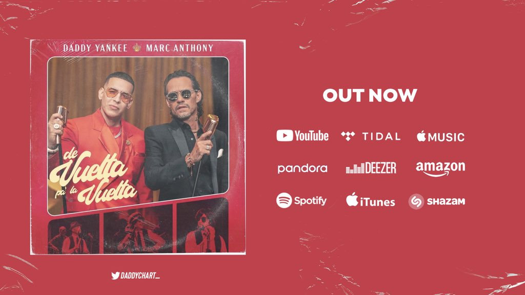 #DeVueltaPaLaVuelta by @daddy_yankee & @MarcAnthony is OUT NOW!   — YouTube:  — Spotify:  — Apple Music:  — Deezer: