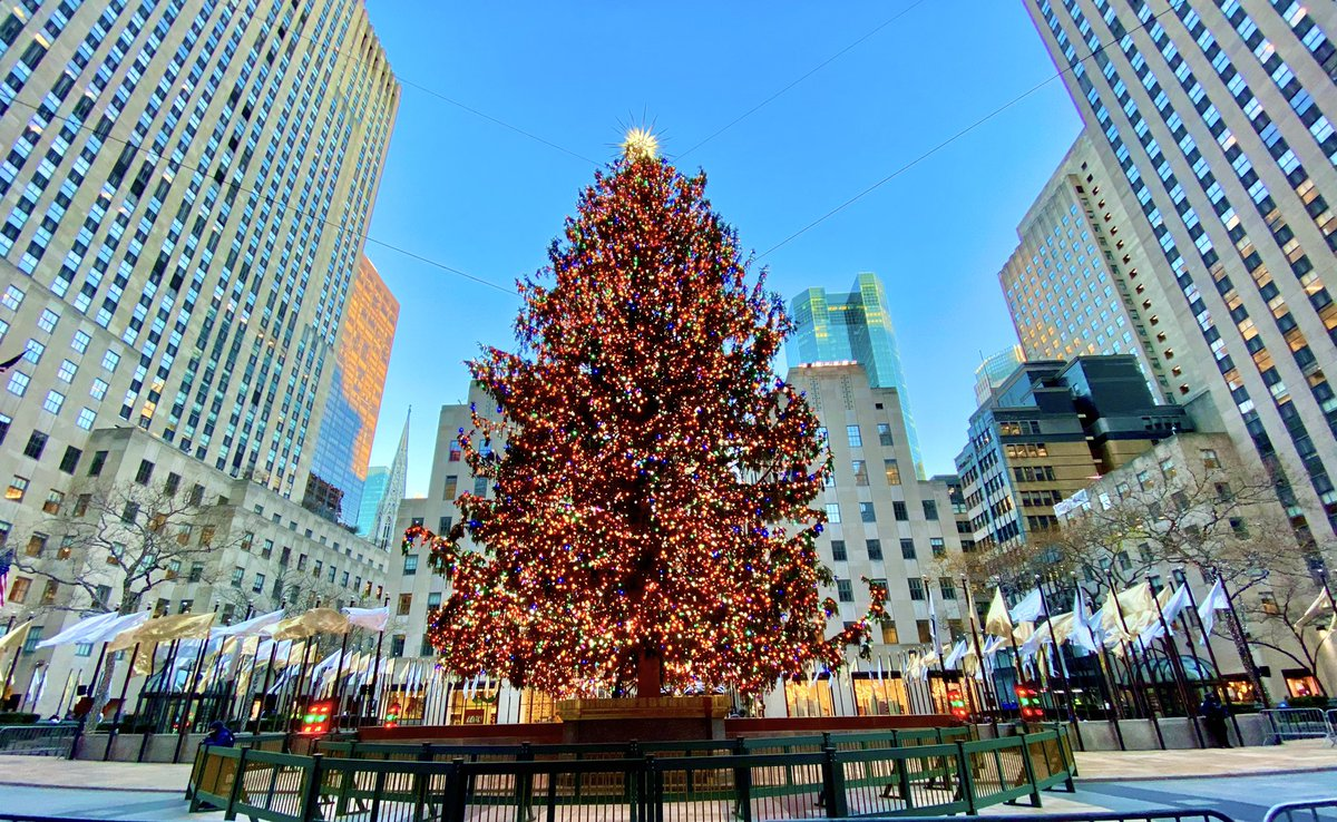 @30RockTree looking pretty good this afternoon, even though you had a few body guards, people kept their distance & wore masks 😷 @NBCNewYork @rockcenternyc @nycfeelings @NYCDailyPics @EverythingNYC @agreatbigcity @StormTeam4NY perfect viewing weather. #rockcenterxmas #NYC 🎄