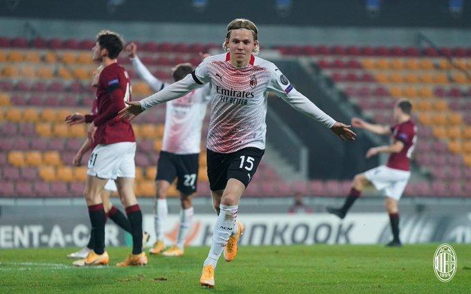 Jens Petter Hauge pencetak gol kemenangan AC Milan di matchday 6 Liga Europa 2020/2021, Jumat (11/12/2020) dinihari WIB.