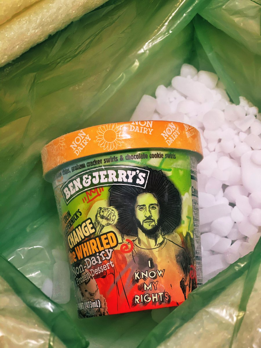 100% of @Kaepernick7's earnings from the partnership with @BenAndJerrys will go to @YourRightsCamp.   He did not partake in this partnership for profits. He did it to help KYRC serve more people.   The NFL continues to Blackball Colin. Colin continues to help Black folks.