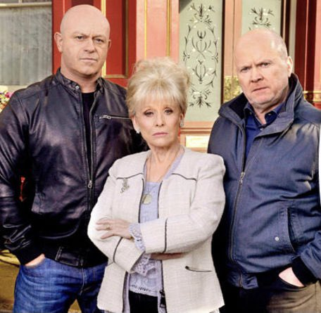 Peggy Mitchell with Phil & Grant Mitchell outside the Queen Victoria pub