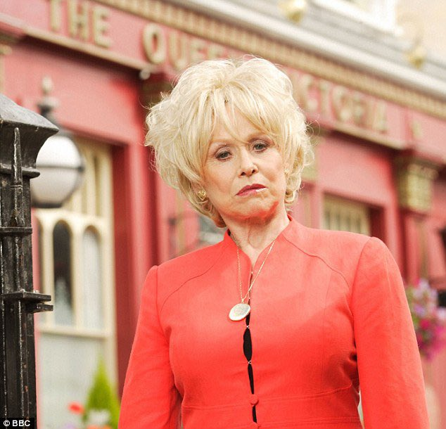 Peggy Mitchell outside the Queen Vic