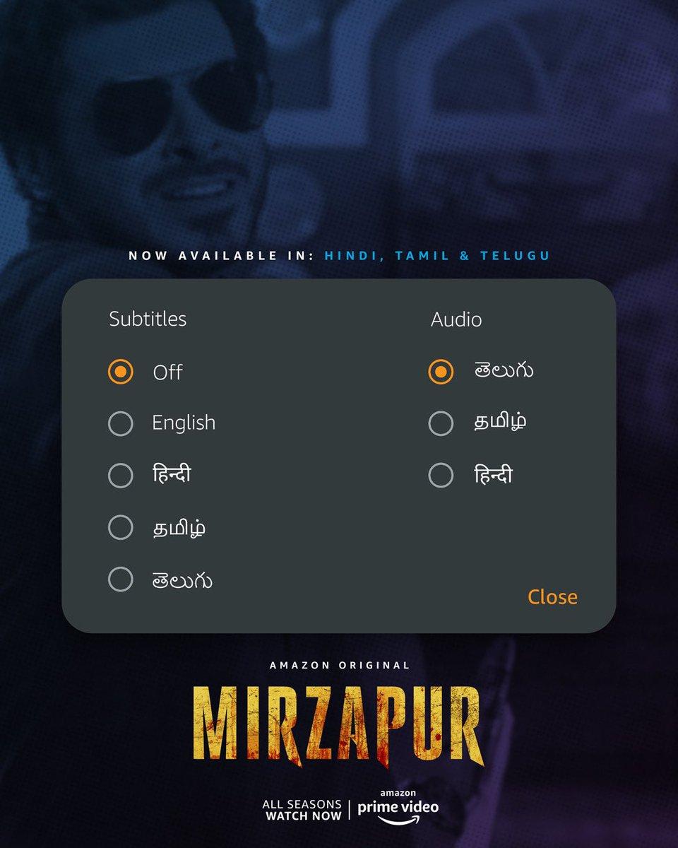 Tamil & Telugu dubs aa gaye hai, ab woh jaayenge nahi ☺️  #MirzapurOnPrime
